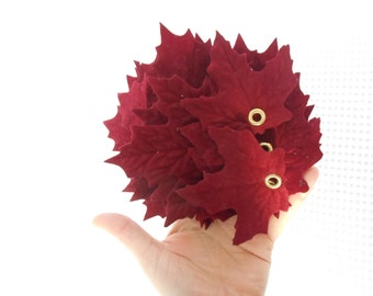 10 Autumnal Rich Red Maple Leaves Flocked soft craft Supply Fall Christmas Holiday Decor