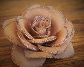 CHOCOLATE BROWN Glitter Rose Hair Clip