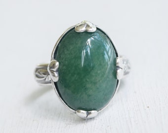 Sterling Silver and Amazonite Ring - Gift For Her - Green Gemstone - OOAK - Statement Ring - Oval Gemstone - Hearts - Size 8.25