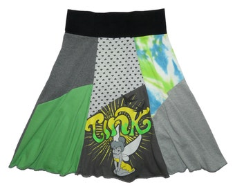 Disney Tink Tinkerbell Women XS Small Upcycled Hippie Skirt recycled t-shirt clothing from Twinkle