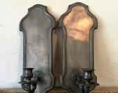 Pair of Vintage Handcrafted Italian Pewter Wall Sconce