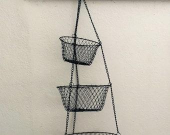 Vintage Wire Blue Fruit Basket Collapsible