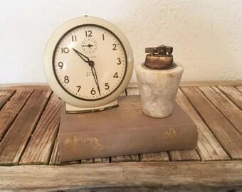 Vintage Alabaster and Brass Lighter