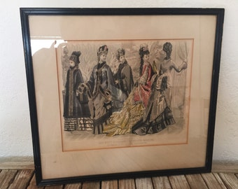 Antique French Illman Brothers Hand Colored Print in Wood Frame