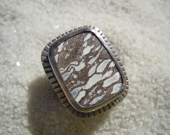 Fossilized Palmwood Ring in Sterling Silver, Size 8 1/4