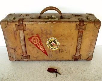 Antique ALL Leather Suitcase w KEYs Vintage Luggage Cornell University Germany