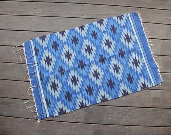Blue Wool Woven Tapestry / Area Rug
