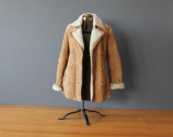Womens Shearling & Suede Winter Coat.  Size XS