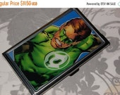 ON SALE Metal Business Card Holder made with Upcycled Green Lantern Comic Book Artwork