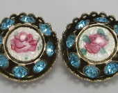 Guilloche Vintage Brooches - Rose Brooches  - Antique Pins - Petite Brooches