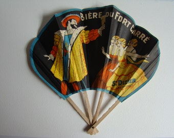 Advertising fan for Fort Carré french brewery from Saint-Dizier with King François the 1st