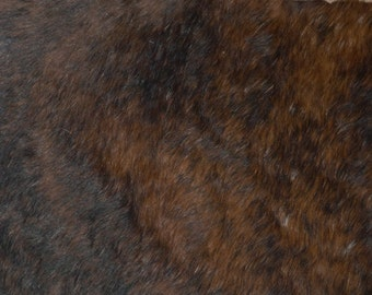 """Hair on Leather 8""""x10"""" BRINDLE Brown with black Cowhide HOH #E9/1 PeggySueAlso™"""