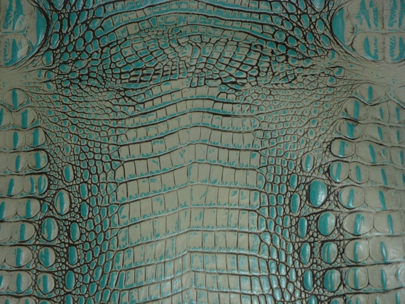 """Leather 8""""x10"""" ALLIGATOR Turquoise with gray Croc Embossed Cowhide 2.5-2.75oz/1-1.1 mm PeggySueAlso™ E2860-06"""