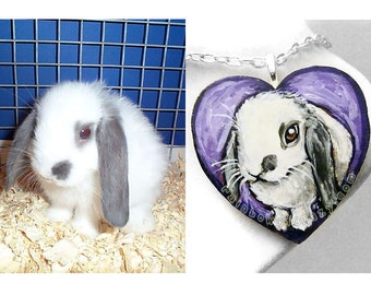 Personalized Pet Memorial Jewelry, Heart Necklace, Pet Loss Gift, Hand Painted Wood Pendant, Animal Art, Pet Portrait, Dog Painting