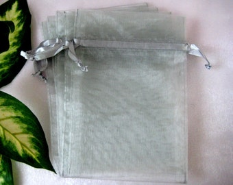 "4"" x 6""  Silver/Gray Organza Bags for Party Favors, Wedding Favor, Gift Bags, Jewelry, Sachets, 12 cm x 18 cm, 10 pieces"