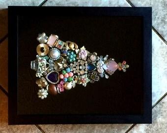 Christmas Tree Shadow Box - Vintage Jewelry