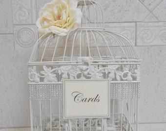 Large Birdcage Wedding Card Holder / Ivory Birdcage / Wedding Box / Elegant Wedding / Wedding Cardholder / Ivory Card Box