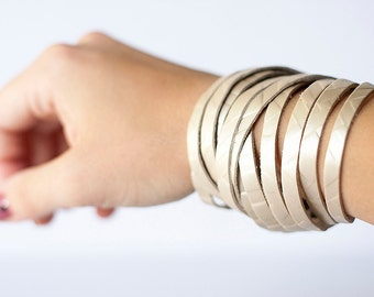 Leather Bracelet / Original Sliced Wrap Cuff / Frosted Labyrinth