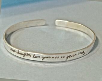 Handwritten bracelet, personalized bracelet, personalized quote, handwritten jewelry, memorial gift, message bracelet, memorial bracelet
