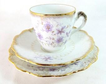 SALE! 19thC Victorian Trio, Dainty Lilac & Gold Floral Moulded Porcelain Cup, Saucer, Teaplate Trio Set 1880s