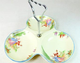 SALE! Art Deco Cake Stand, Midwinter Porcelon Crinoline Lady Flower Garden 3-Lobed Bonbon Petit Four Serving Dish Bonbonniere 1920s