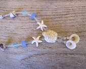 beach necklace, turtle and starfish necklace, sea glass necklace, ocean necklace, jewelry made in hawaii
