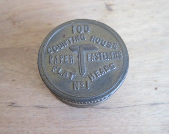 Vintage Counting House Paper Fasteners Tin ~ Industrial Home Decor Office Canisters, Unique Housewarming Gifts, New Job Desk Decor Gifts