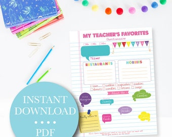 Teacher's Favorites Questionnaire - New Teacher - Back to School - Getting to know - Teacher's Favorites Questions Printable - Digital File