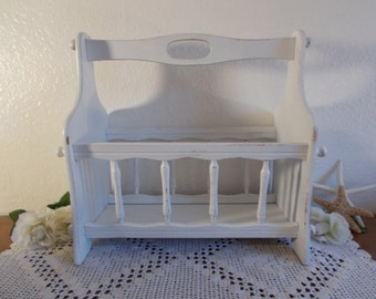 White Magazine Rack Rustic Shabby Chic Distressed Vintage Wood Beach Cottage French Country Farmhouse Romantic Southern Home Decor Organizer