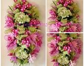 Polka Dot Spring/Summer Hydrangea Floral Door/Wall Swag Wreath
