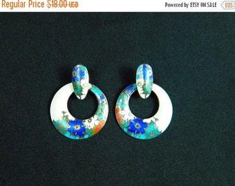 Vintage 80s door knocker enameled floral  dangle hoop earrings 2 for 1