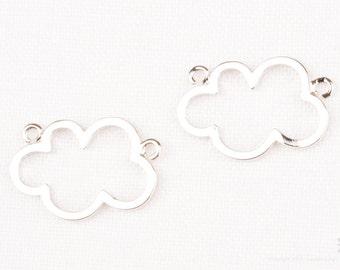 P795-R// Glossy Original Rhodium Plated Cloud Shape Connector, 2pcs