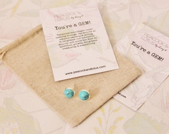 You're a Gem - Silver Turquoise Stud Gemstone Earrings