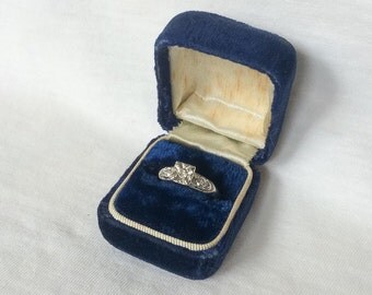 Blue Box Velvet Wedding Ring Jewelry Display Vintage