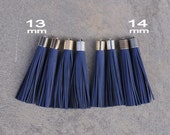 Midnight  Blue Nubuck Leather TASSEL in in 13 or 14mm Cap -4 colors Plated Cap- Pick cap size, cap color & trimmed size