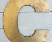 """Large Vintage Brass Industrial Letter: """"C"""""""