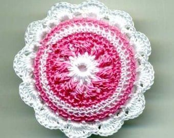 Dollhouse Pillow Cushion  Miniature Round Crocheted Pink and White Scale 1:12