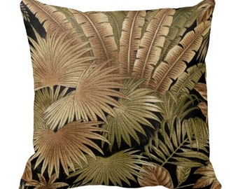 Tommy Bahama Outdoor Pillows, Palm Pillows,Throw Pillow,black Patio Pillows, Outside Pillows, Tropical Pillow Covers,Jungle Pool Pillows