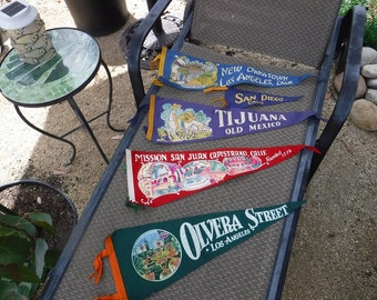 Vintage lot of Southern California and TJ felt pennants lot of 5