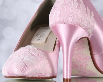 Pink Wedding Shoes, Lace Bridal Shoes, Ivory Lace Wedding Accessories, Painted Soles, Hand Painted Wedding Shoes, Custom Wedding Shoes