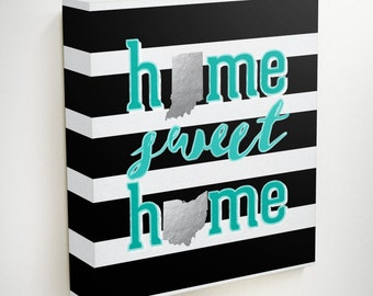 Home Sweet Home Canvas, Wedding Gifts Personalized, Lover Gift, Unique Wedding Gift, Home Decor Wall Art, Custom Map, Custom Canvas Art