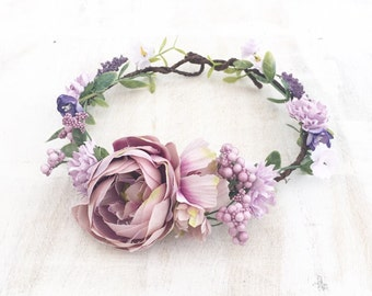 Beautiful lilac and white flowers peony bridal flower crown - wedding - bride - flower girl - vintage - festival