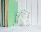 Horse bookend, vintage glass horse bookend, figurine, paperweight, horse head.glass bookends.vintage bookend.vintage horse.glass paperweight