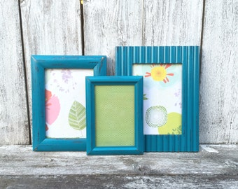 Turquoise/Teal SHABBY CHIC Frames, Table Top Frames, Collection of Frames