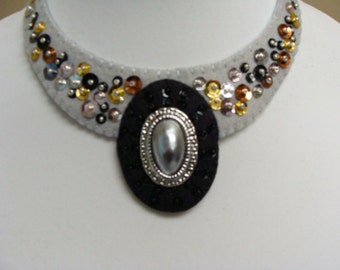 Statement Necklace Wool Felt OOAK- Beaded-Embroidered Handmade