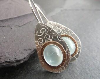 Aquamarine Earrings, Sterling Silver Earrings, March Birthstone Earrings, Silver and Copper, Teardrop Earrings, Aquamarine Jewelry, UK