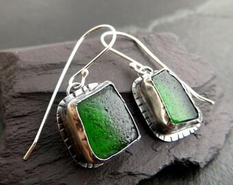 Green Sea Glass Earrings, Emerald Green Earrings, Seaglass Jewelry, Genuine English Seaglass, Sterling Silver Earrings, UK Sellers Only