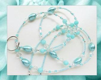 AQUA BLUE PEARL- Beaded Id Lanyard- Brazilian Aquamarine Gemstones, Glass Pearls, Sparkling Crystals (Magnetic Clasp)
