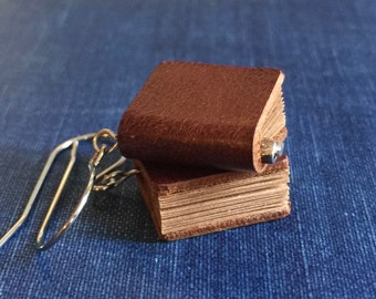 25%OFF Genuine LEATHER miniature BOOK earrings (Brown) with gift envelope  gift for librarian teacher book lovers