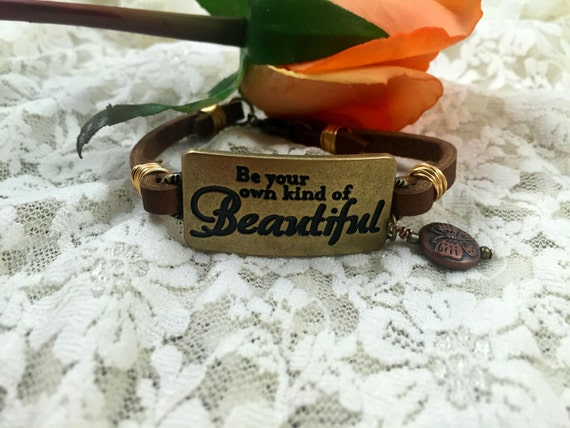 leather bracelet inspirational quote bracelet be your